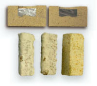 próbki wyrobów ogniotrwałych po badaniach odporności na korozję
